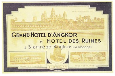 grand hotel angkor colonial luggage tag