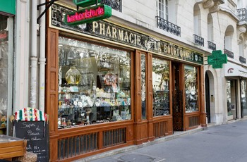typical french pharmacy shop
