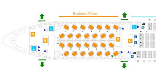 cabin map business class srilankan airlines airbus a330-300